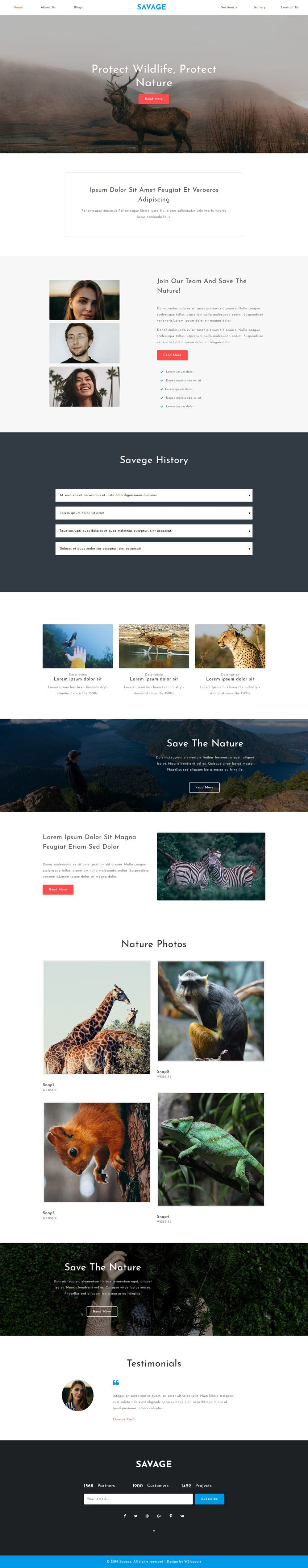 Savage is an HTML web template for websites related to animals & pets.