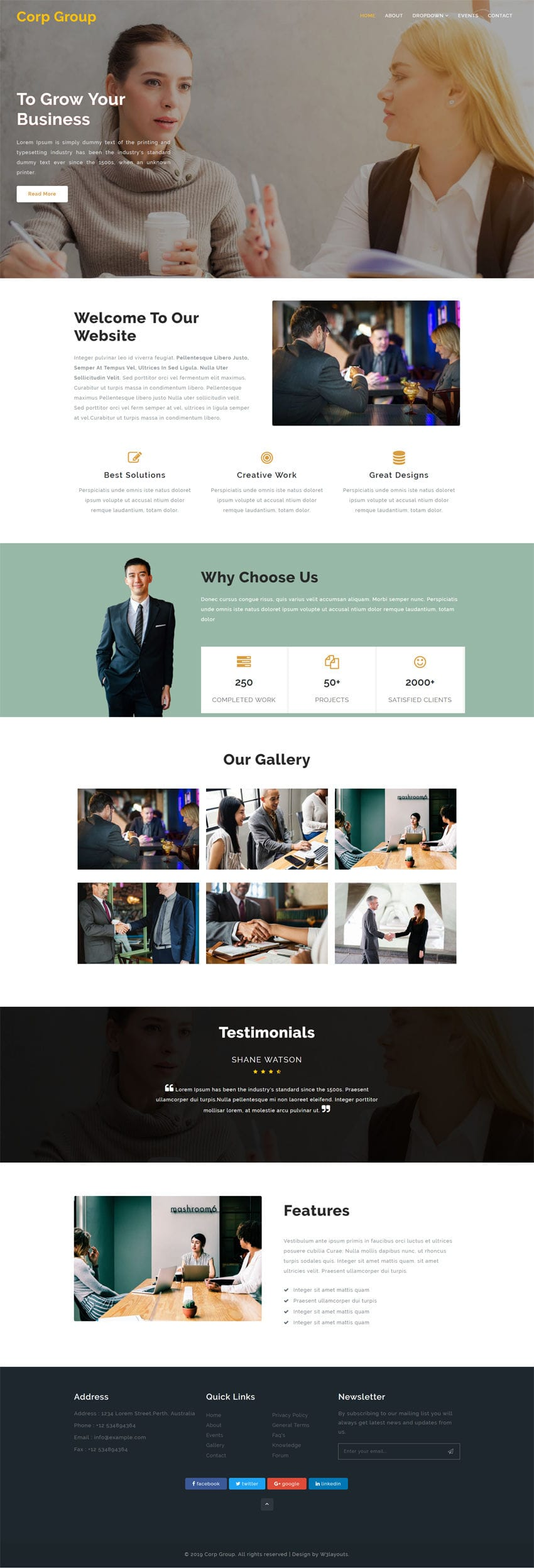 Corp Group is a free website template for corporates, agencies and similar businesses. This HTML web template will give your agency a stunning web presence.
