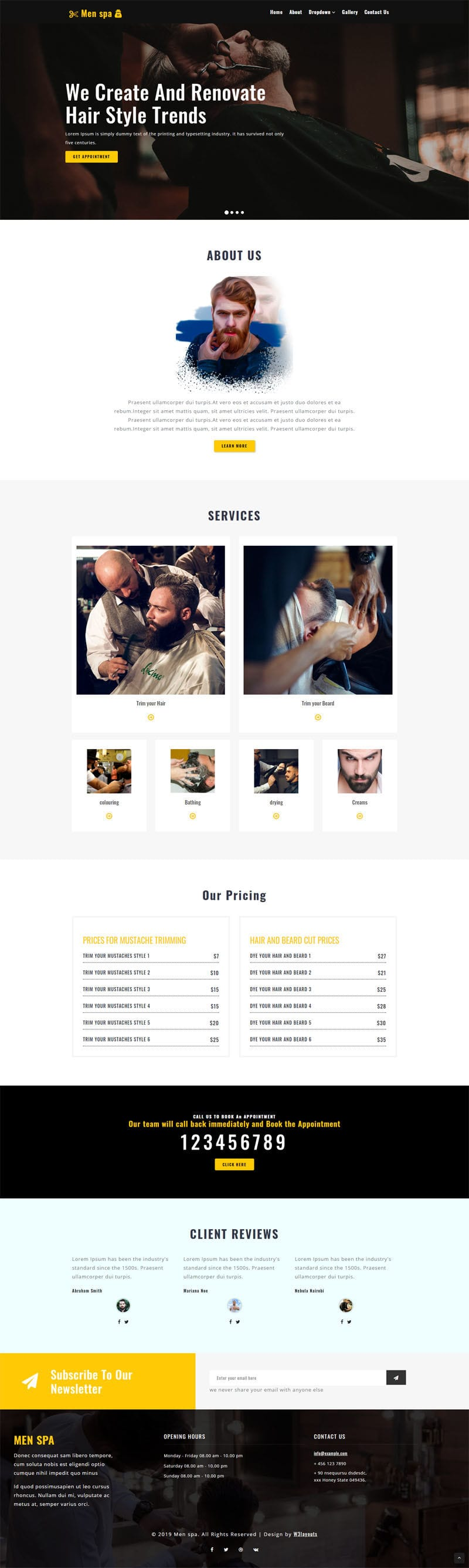 men spa is a website template built for salons, spas and beauty parlours.