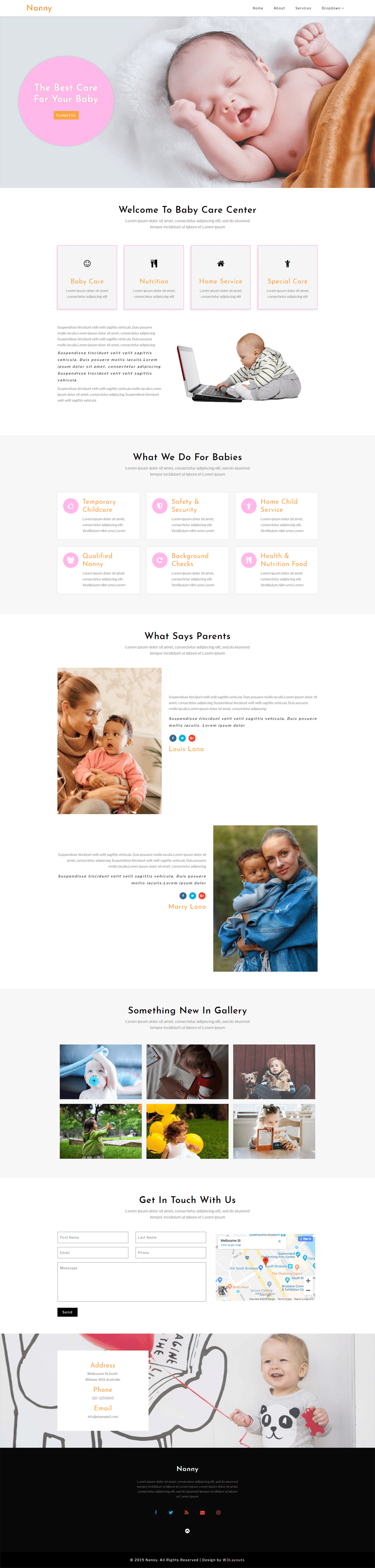 Nanny, a Society & People category website template designed for child care websites.