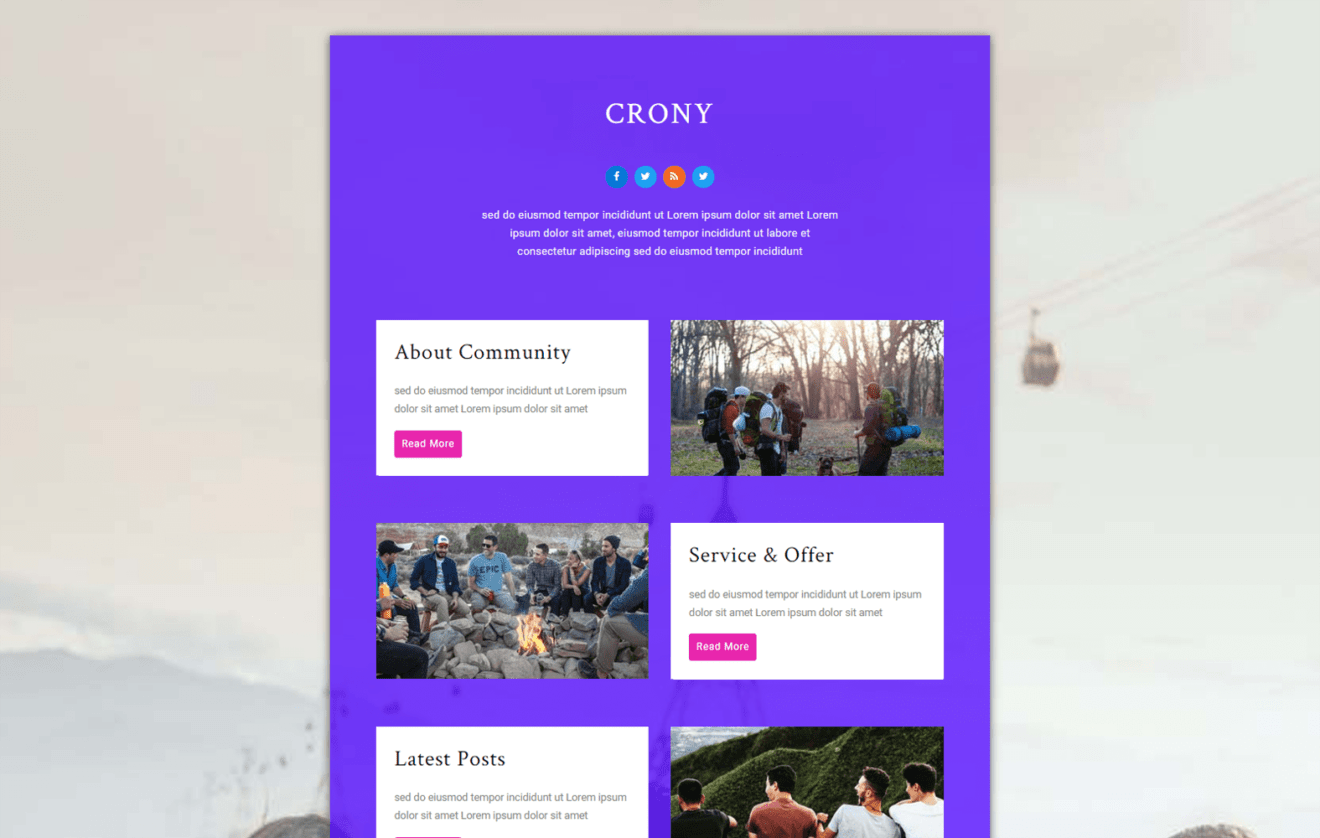 Crony – Community Category Bootstrap Responsive Web Template