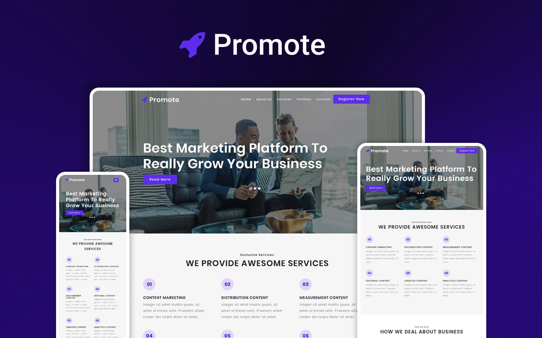 Promote – Business Category Bootstrap Responsive Website Template