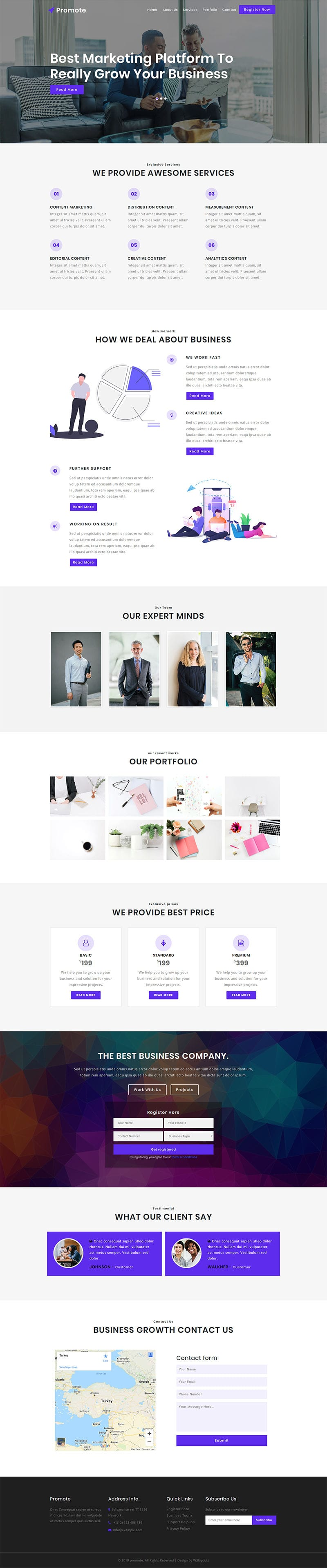 Promote, a Business category website template for corporate businesses. This HTML CSS website template is responsive and fully customizable..