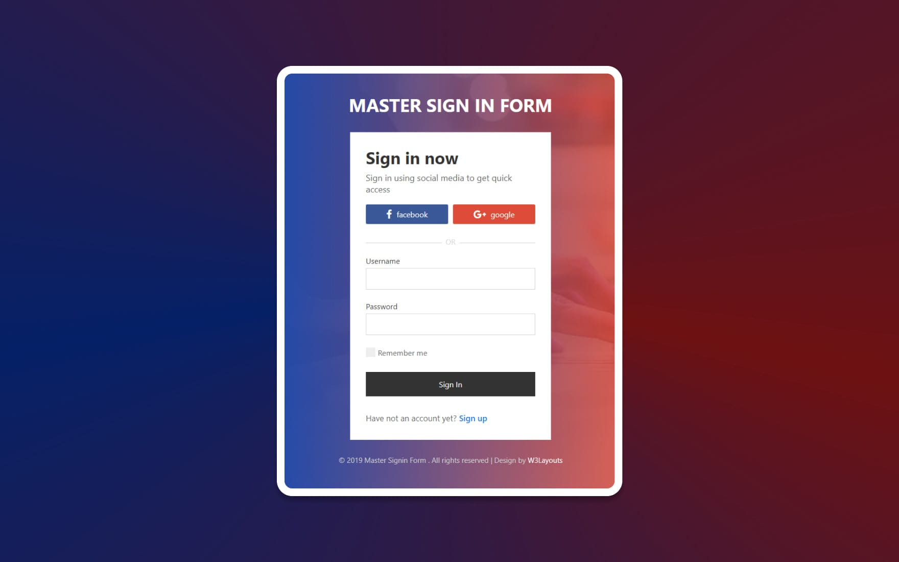 Master Sign in Form – HTML & CSS Widget Template