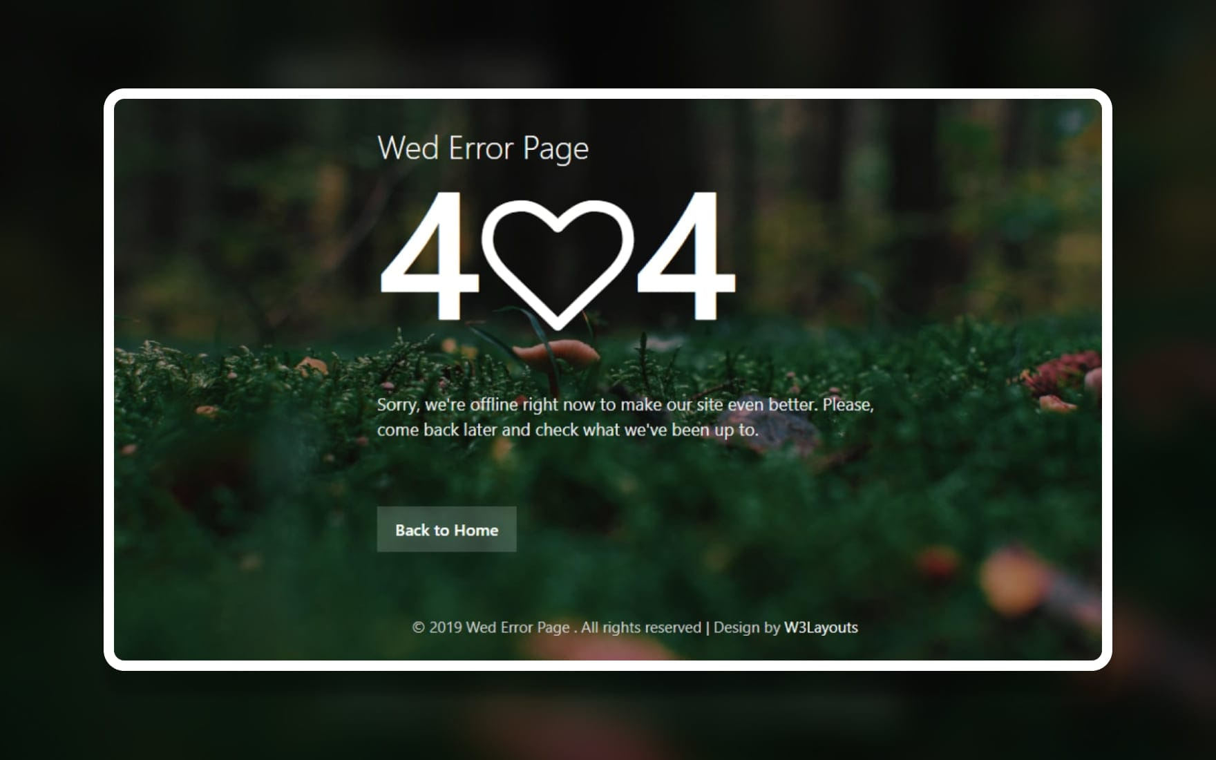Wed Error Page – Free Responsive Widget Template