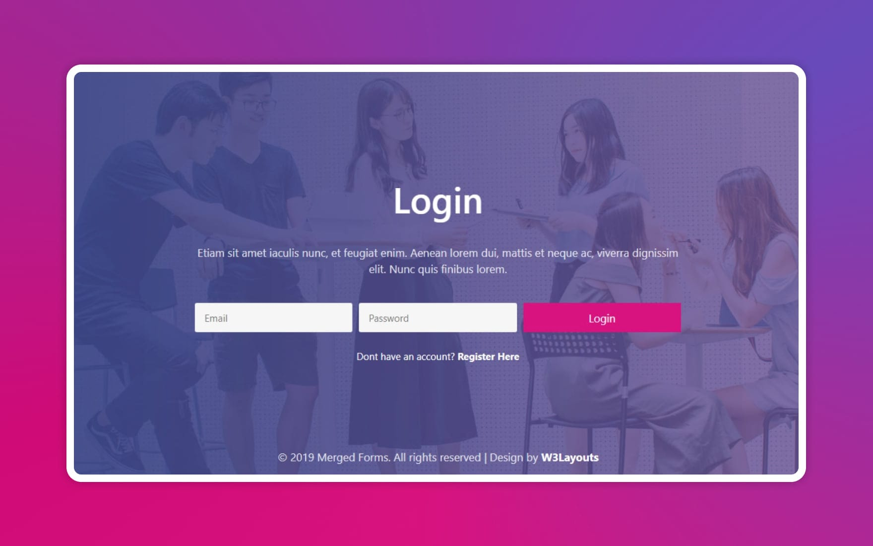 Merged Signup Forms and Login Forms – Responsive Widget Template