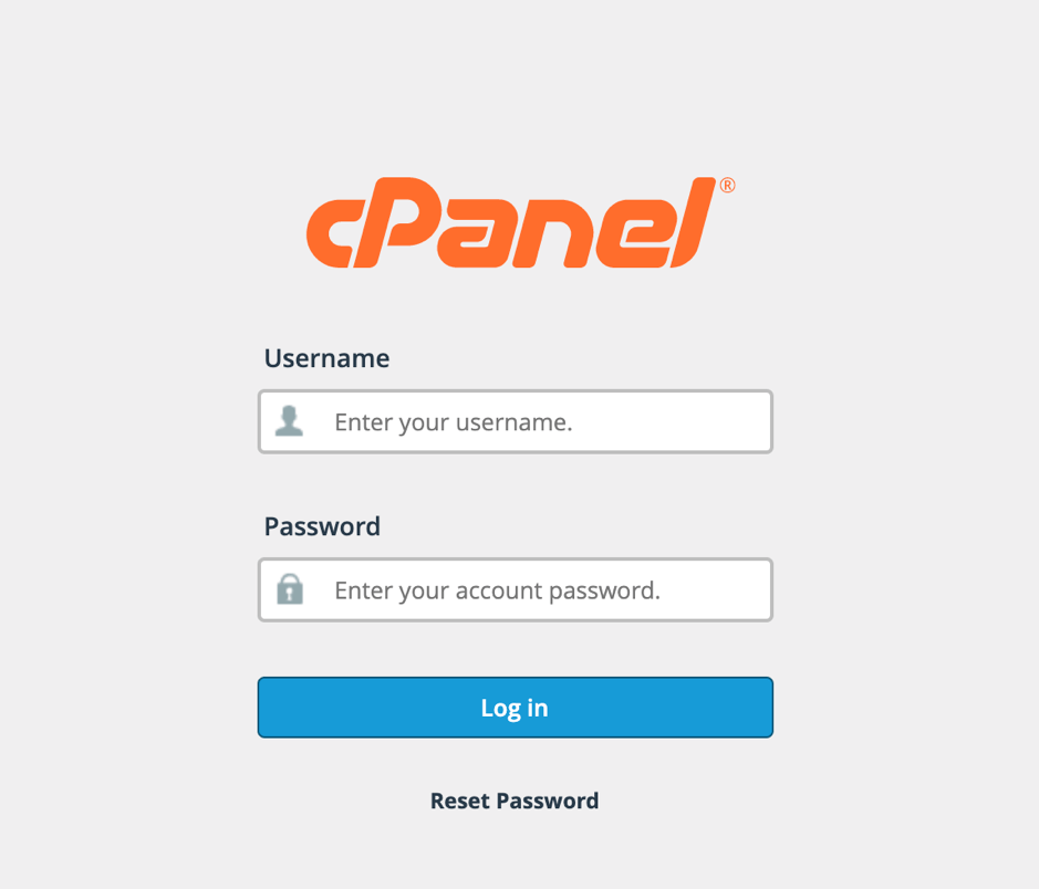 cPanel 1st screen