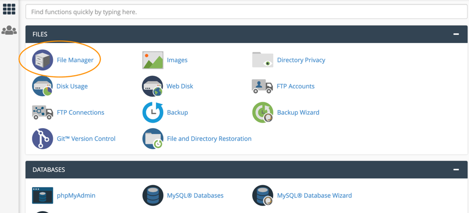cPanel 2nd screen