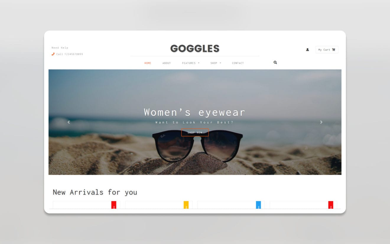 Goggles ecommerce website template