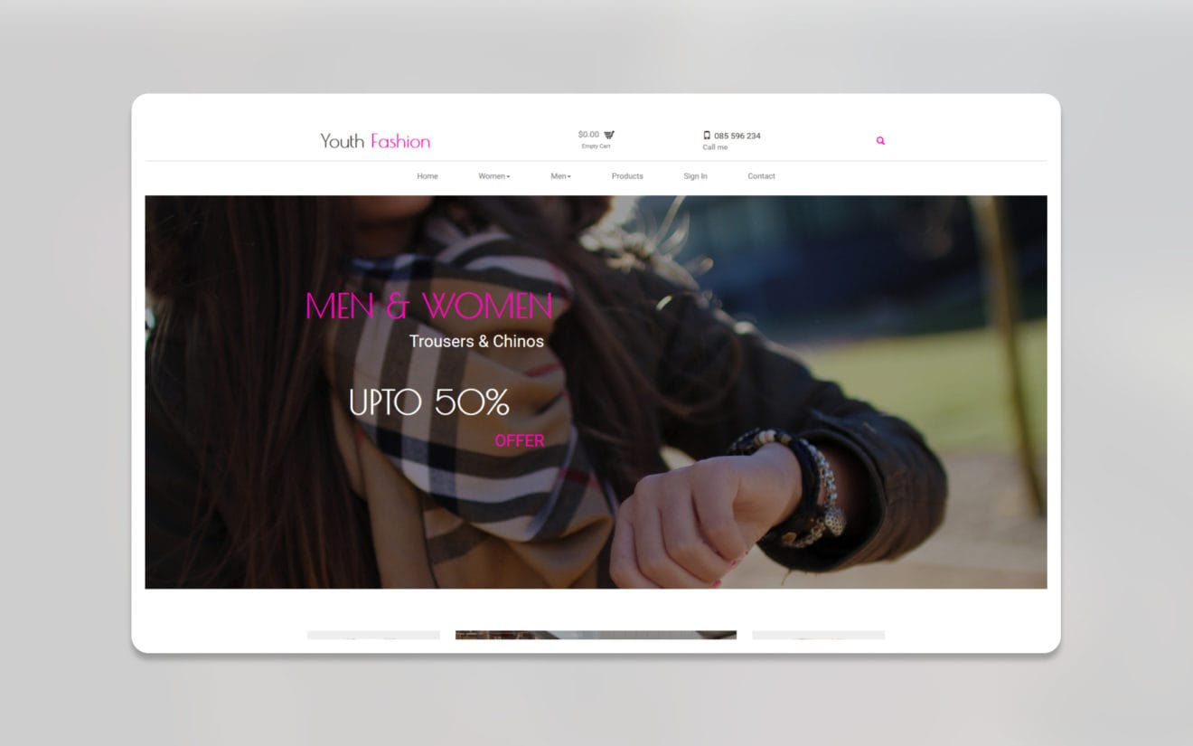 Youth fashion ecommerce website template