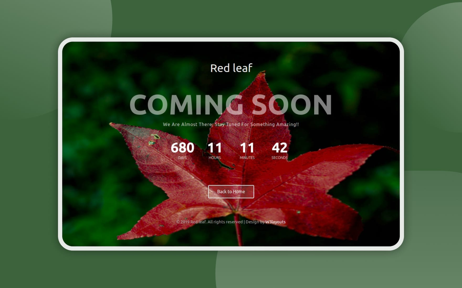 Red Leaf – Coming Soon Page Template