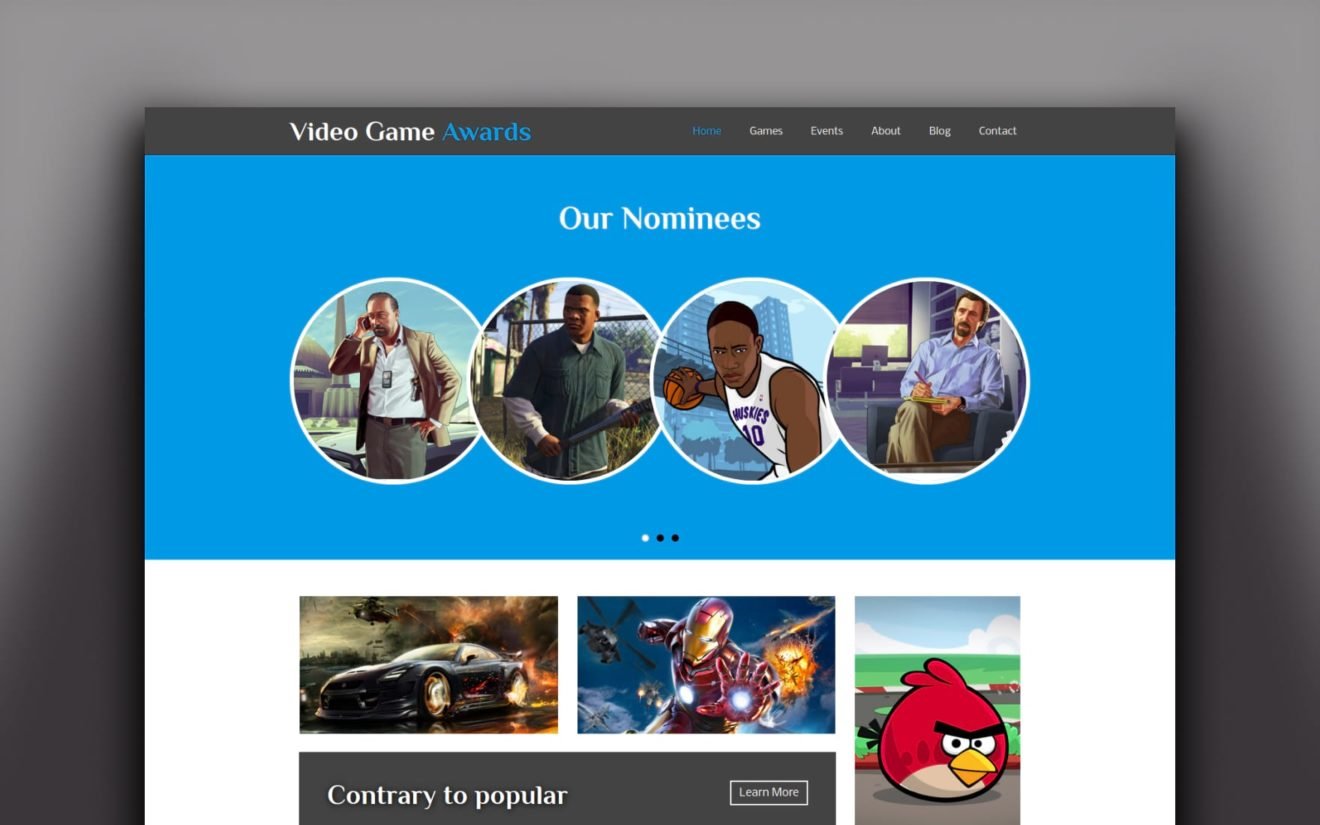 Video Game Awards Gaming Website Template