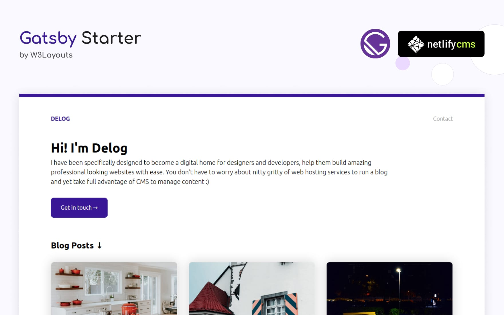 Delog — Gatsby Starter built with Netlify CMS