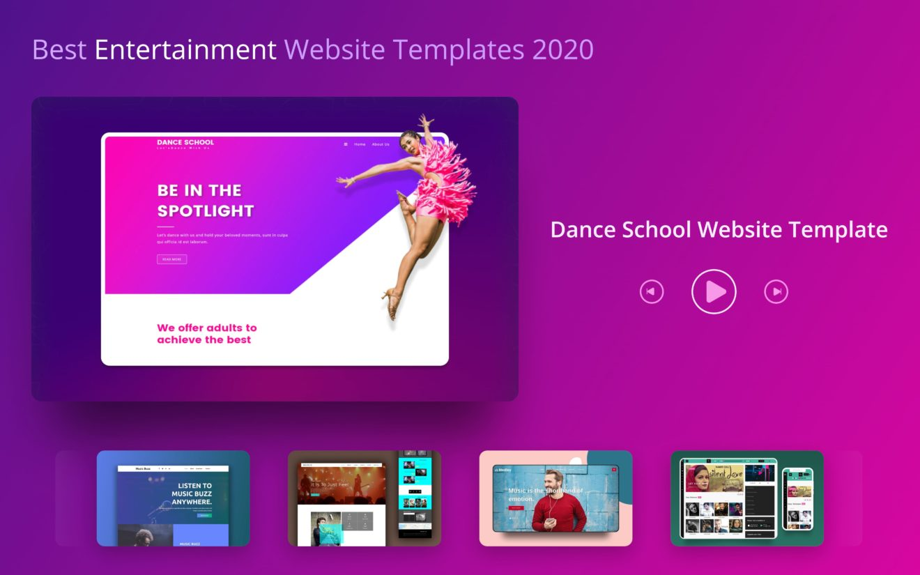 Best Free Entertainment Website Templates 2020