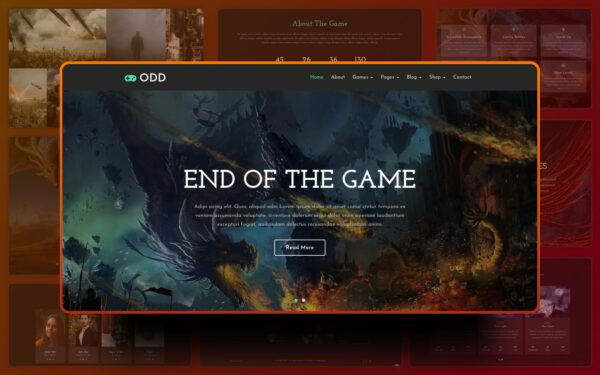 Odd gaming website template