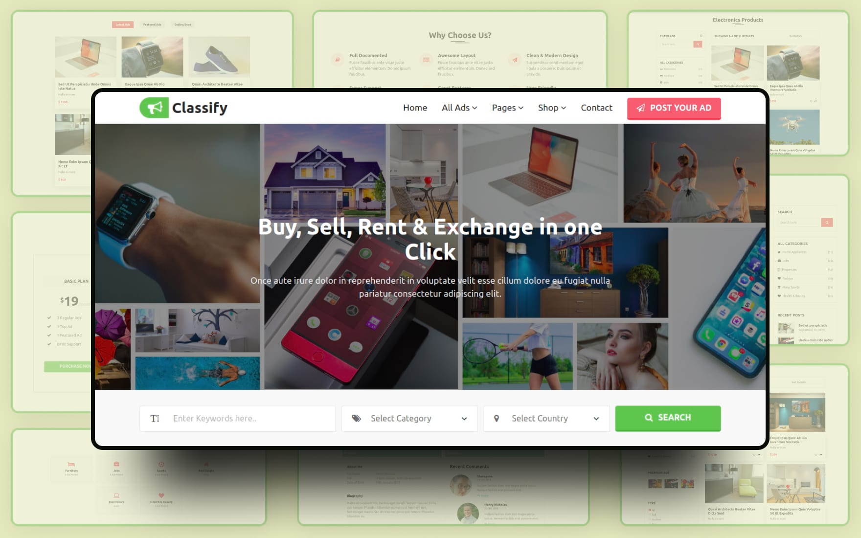 classify ads website template