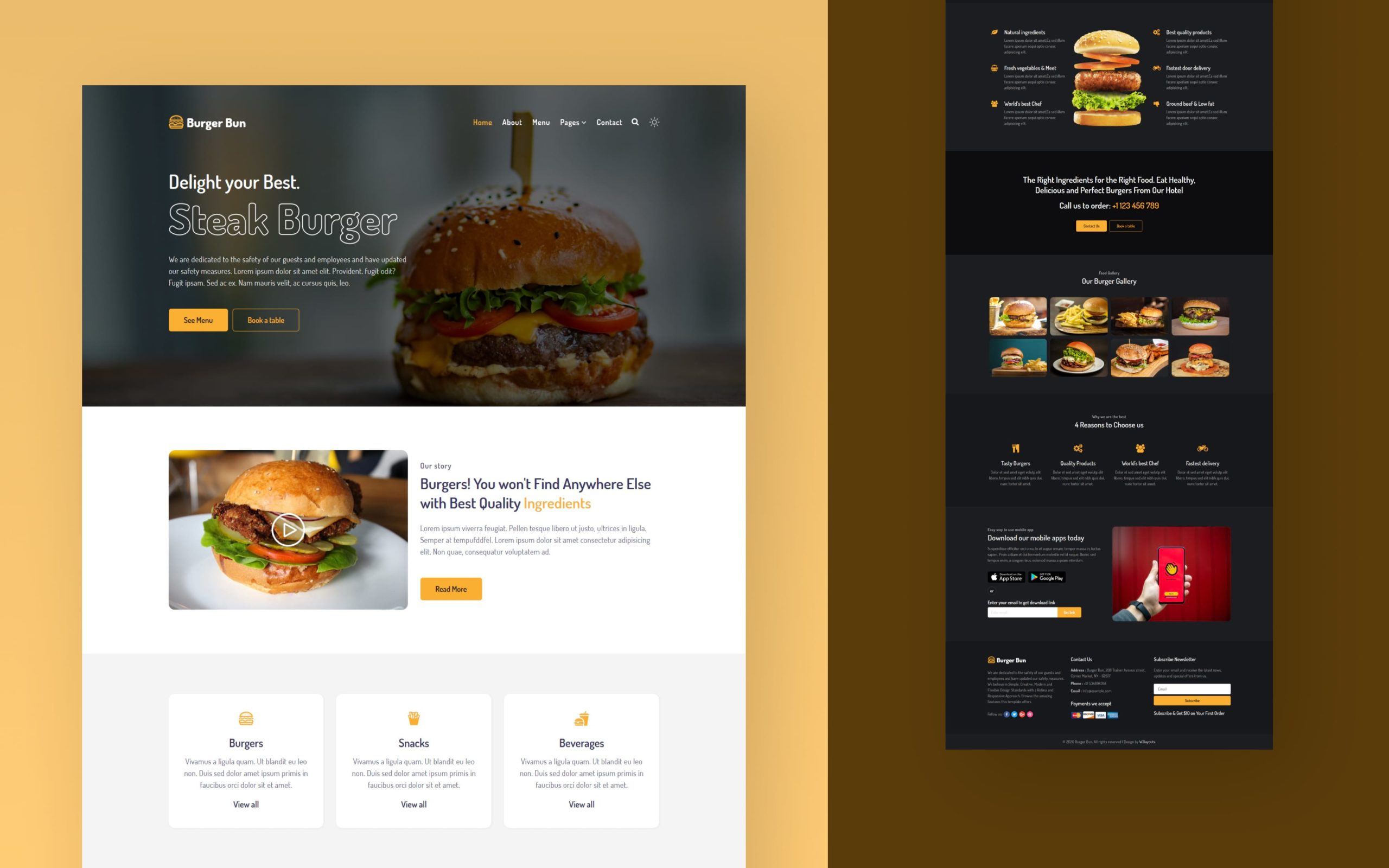 Burger Bun Website Template