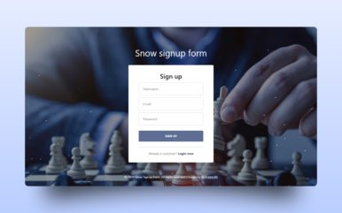 Snow Sigup Form Web Element