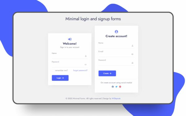 minimal login signup form