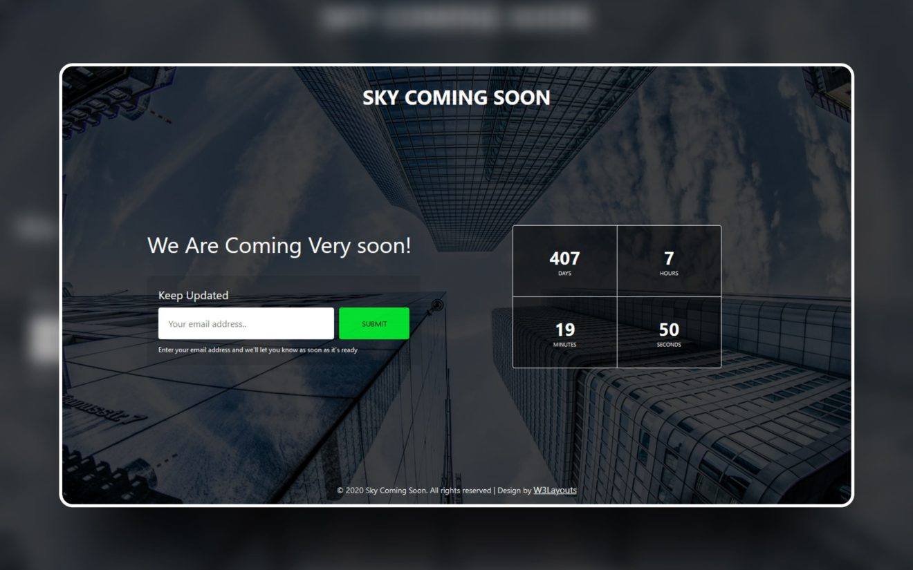 Sky Coming Soon Web Element