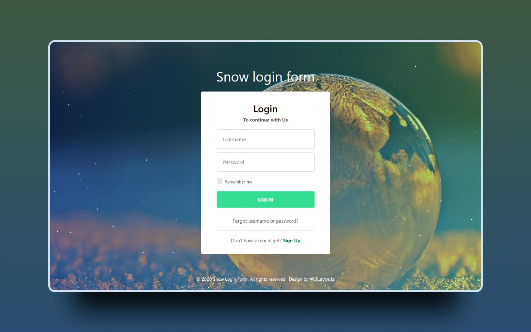 snow login form