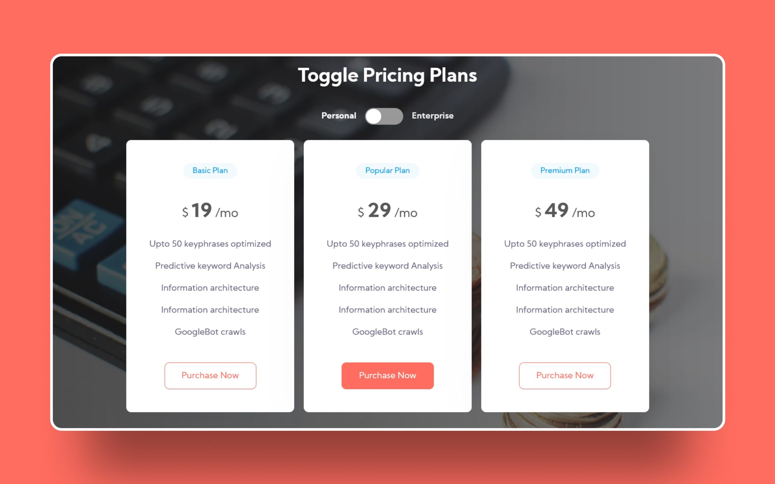 toggle website template
