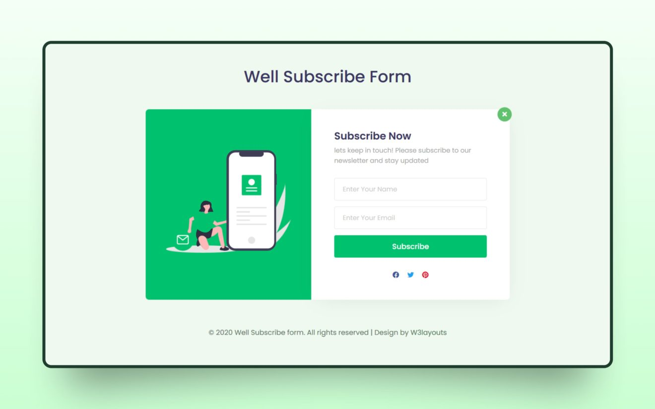 Well Subscribe Form Web Element