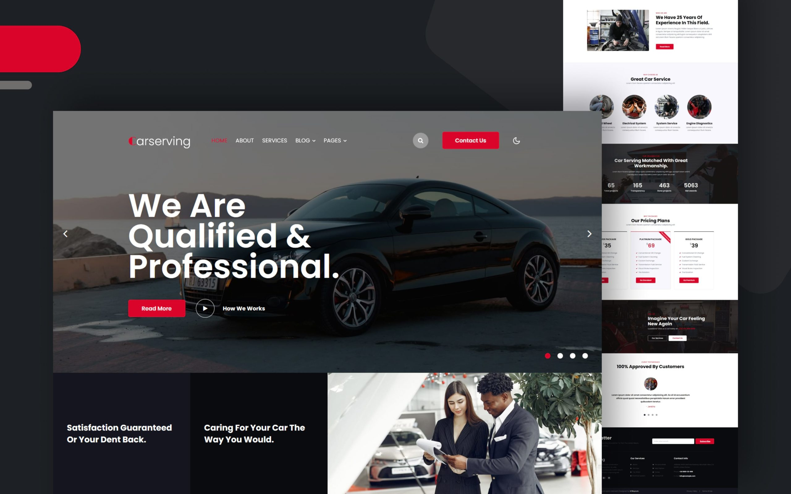 car serving website template