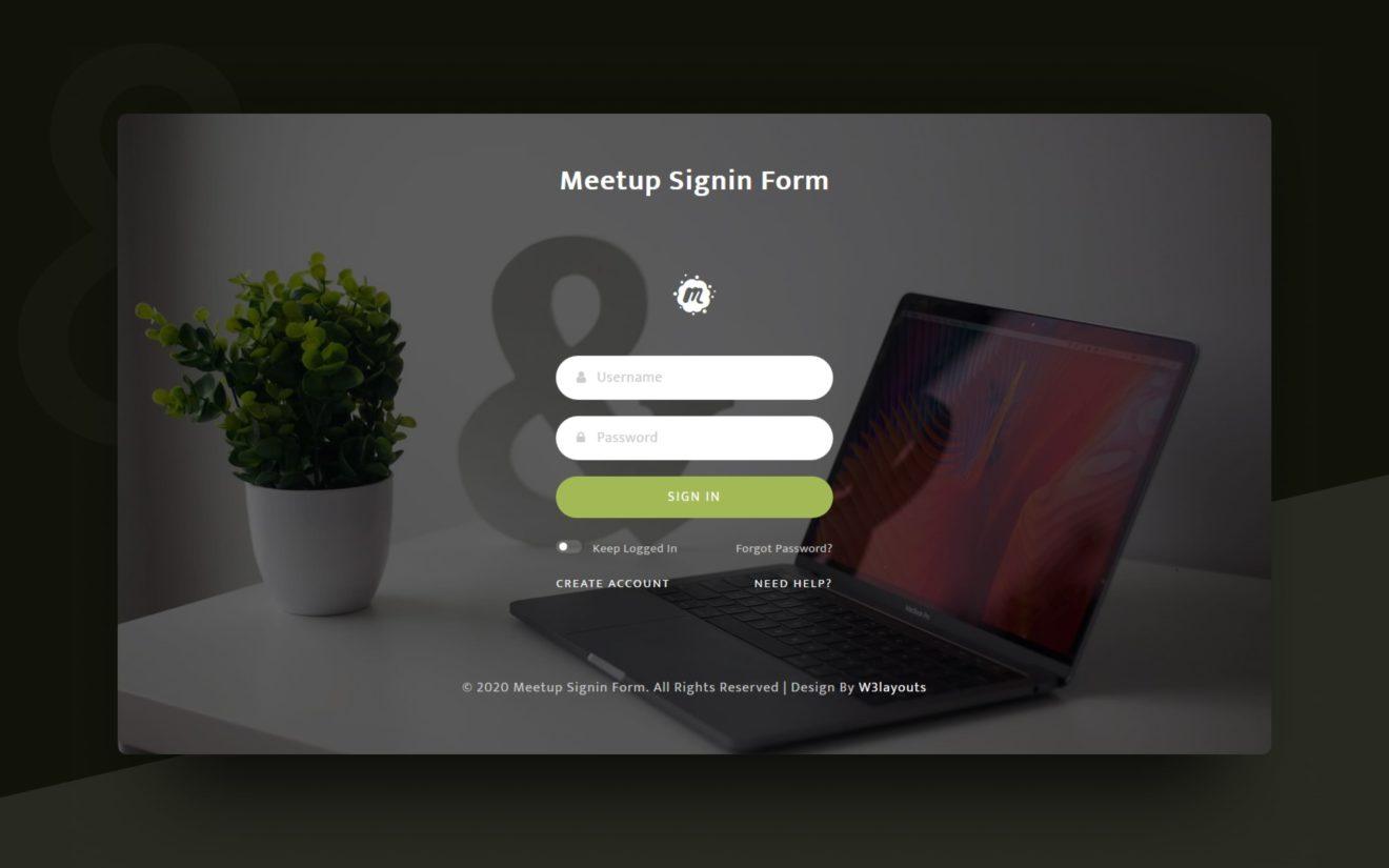 Meetup Sign-in Form Web Element