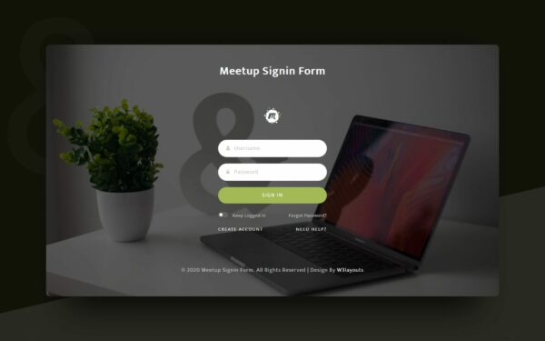 meetup sigin form
