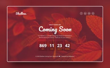 Shallow Coming Soon Web Element