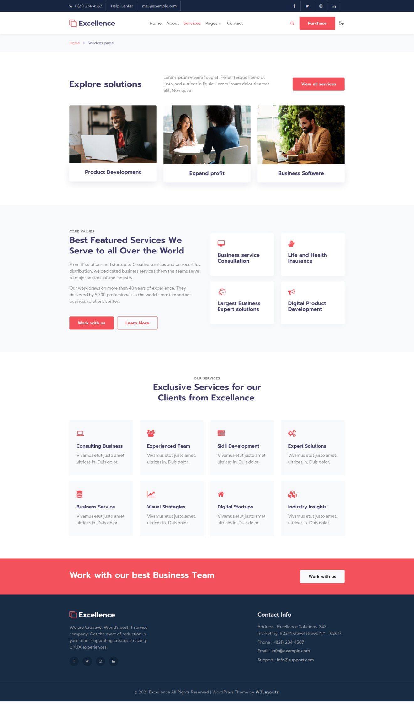 A corporate wordpress theme Services page