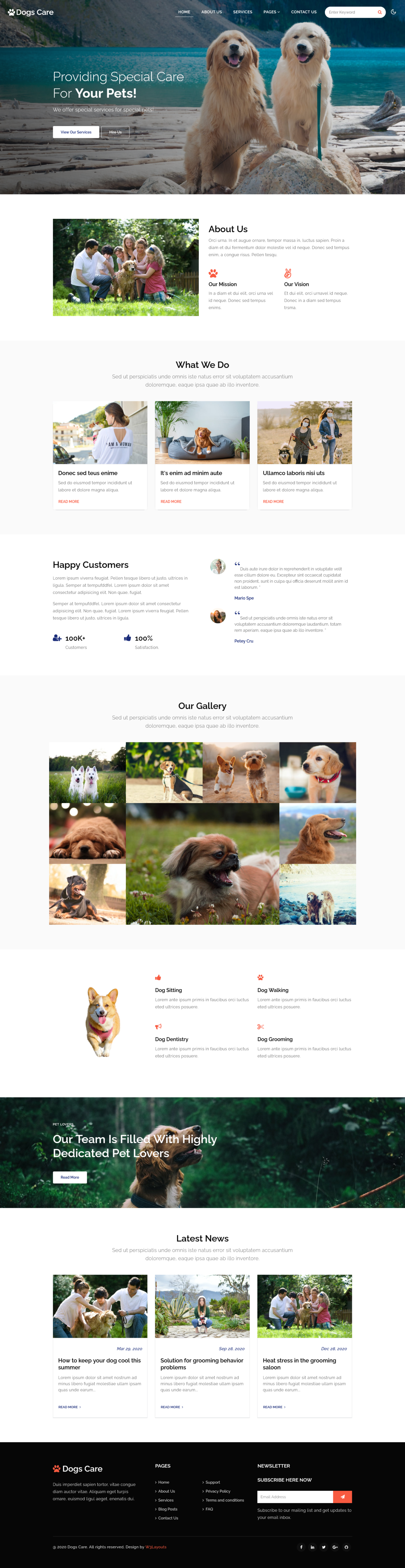 dogs care a pet care website template's home page