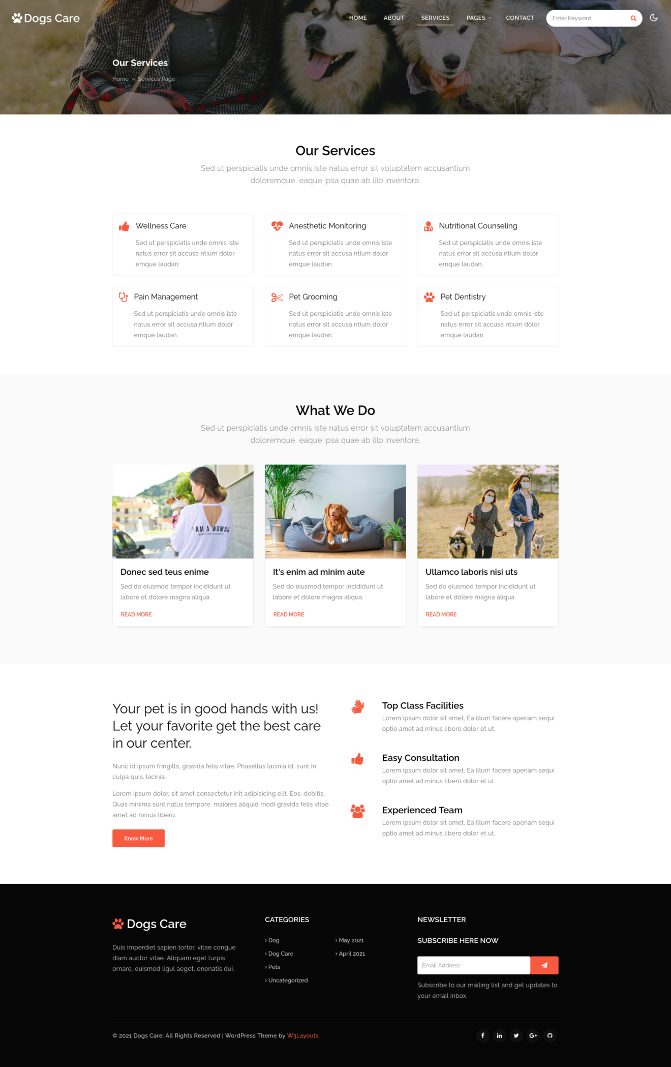 dogs care a pet care website template's about page
