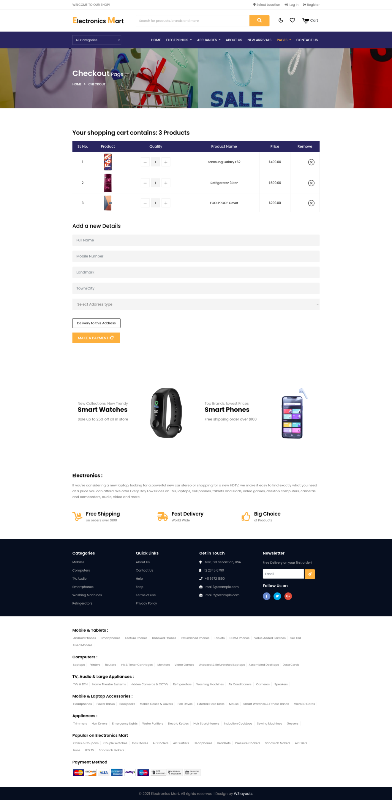 ecommerce website template's cart page