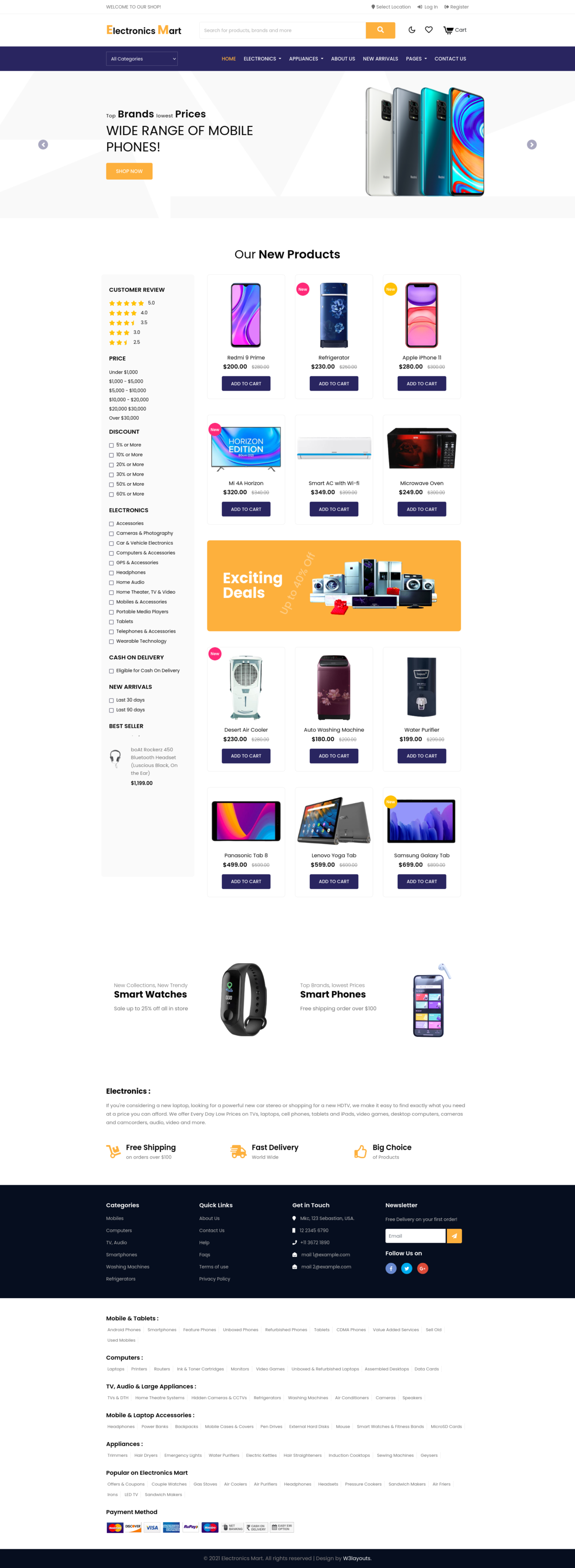 electronic ecommerce website's home page