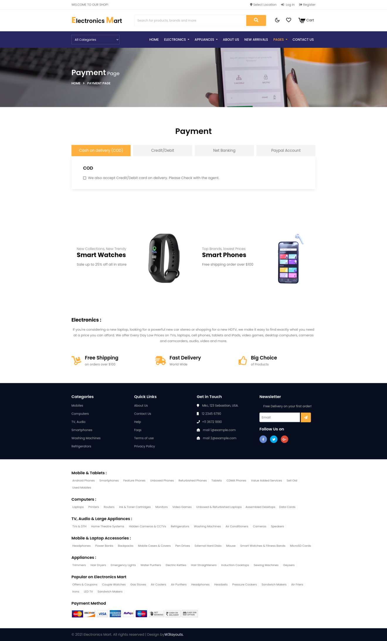 payment page of electronic ecommerce website template