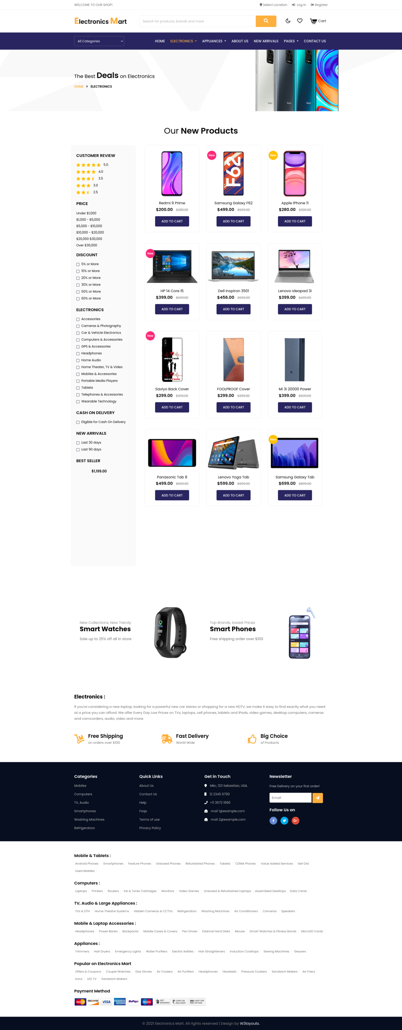 electronic products page in ecommerce website template