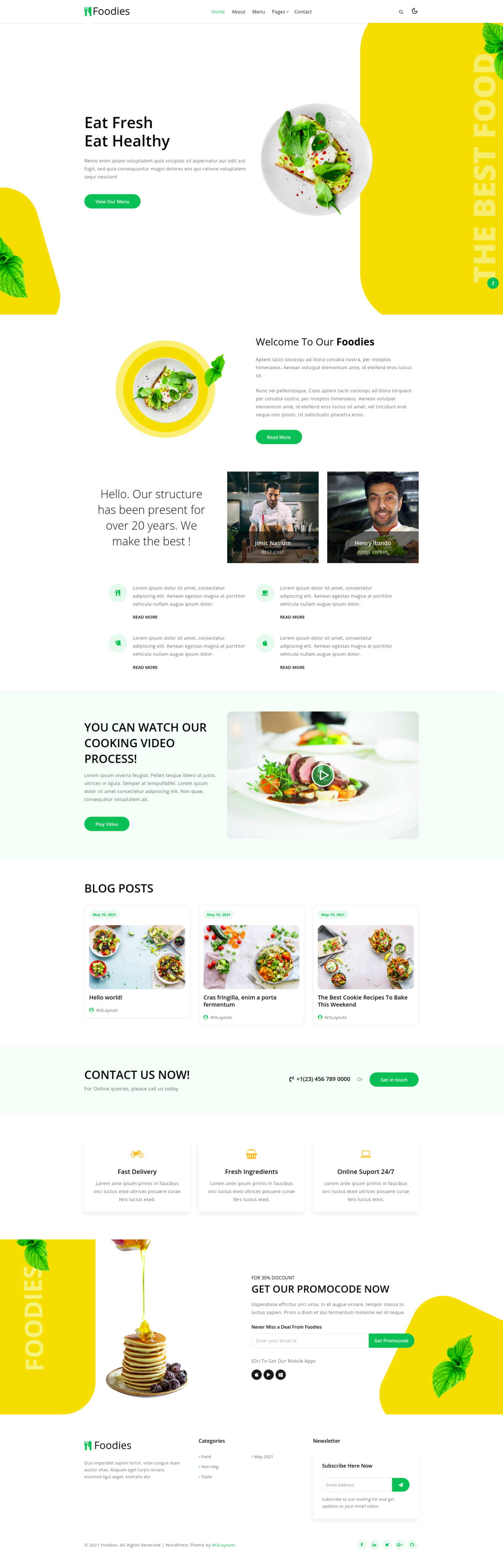 Foodies a restaurant website template home page