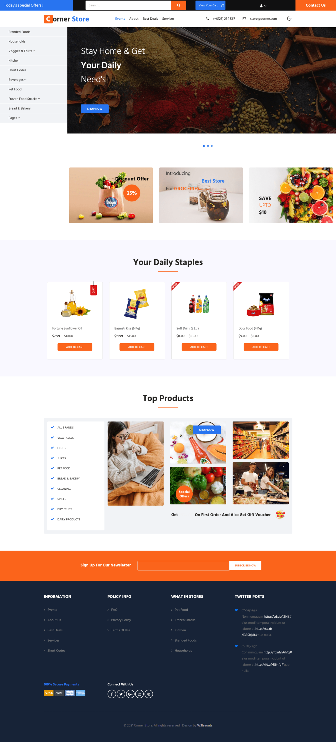 Corner store a ecommerce vendor website template home page