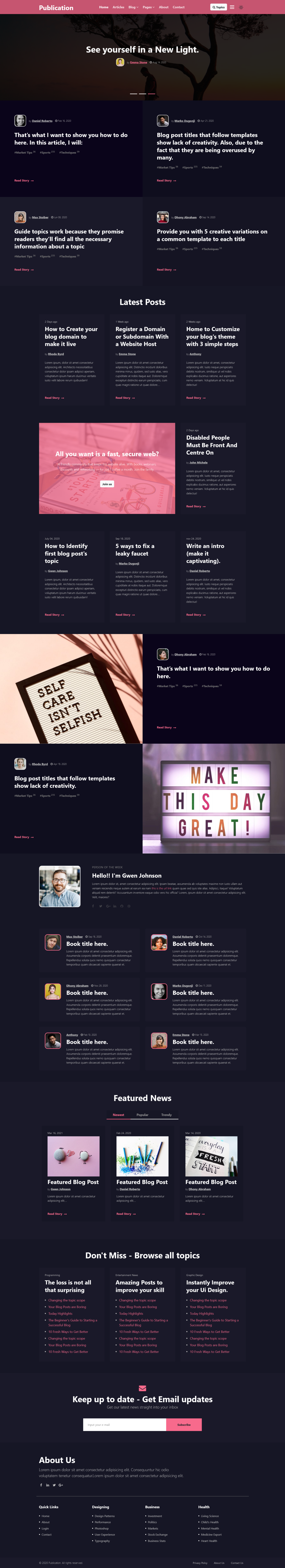 home page of a multi-purpose blogging website template