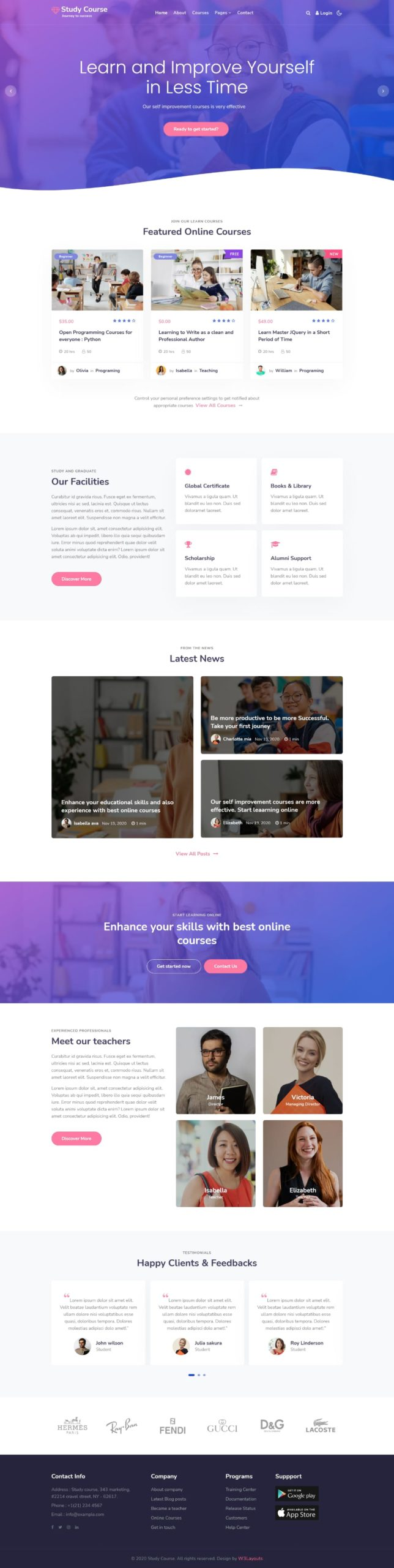 consultant online education website template home page