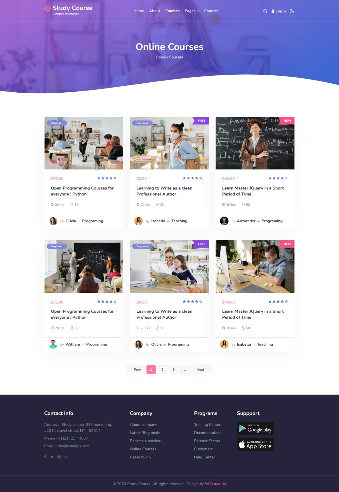 consultant online education website template courses page