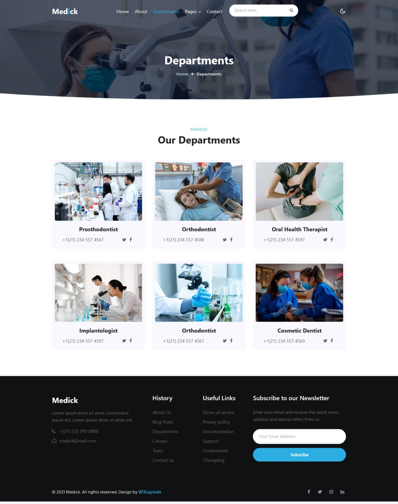 medick departments page